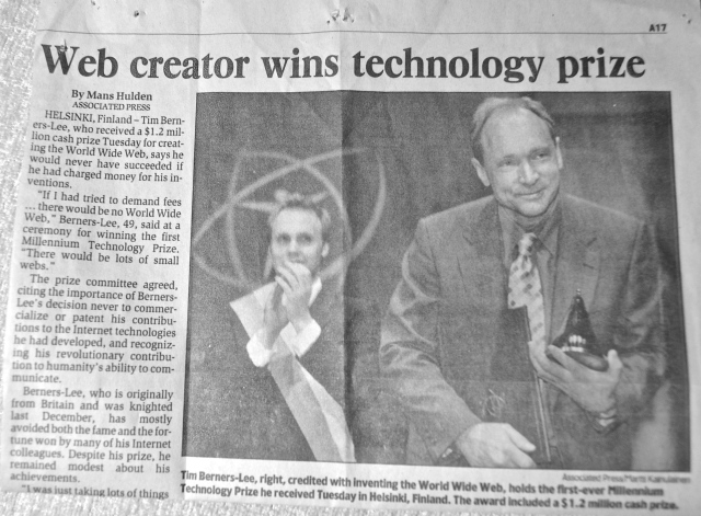 Tim Berners-Lee receives the Millennium Technology Prize for his creation of the World Wide Web.