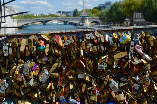padlocks on a bridge in Paris